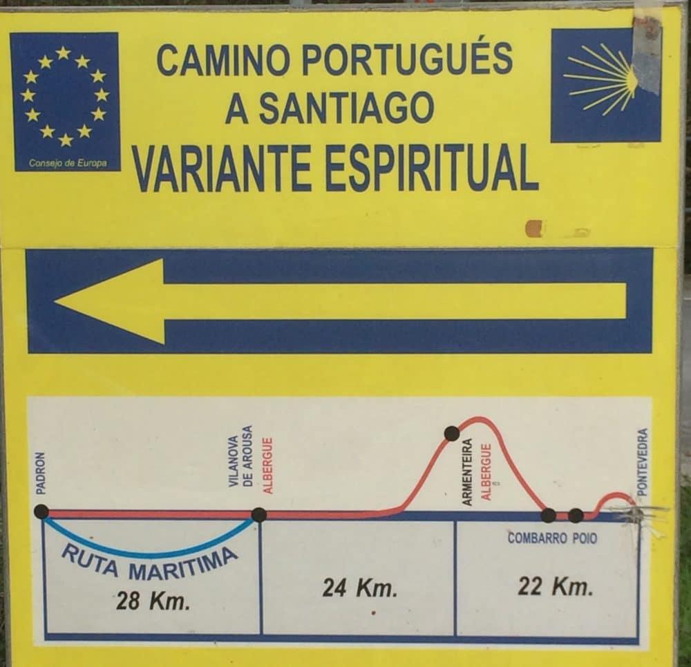 Variante espiritual sign outside Pontevedra